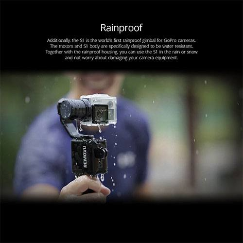 Ad showing the rainproof capabilities for the removu 1 gopro gimbal