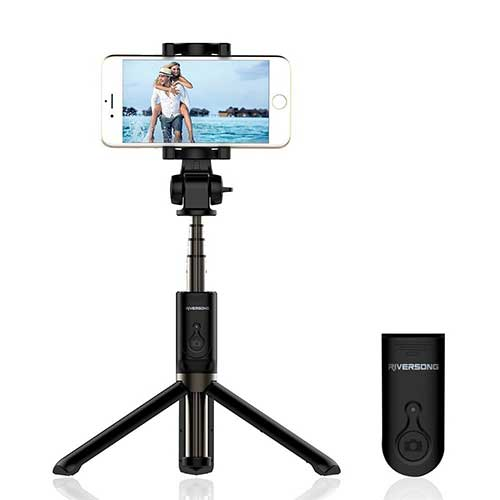 Tripod with a smartphone mounted on it