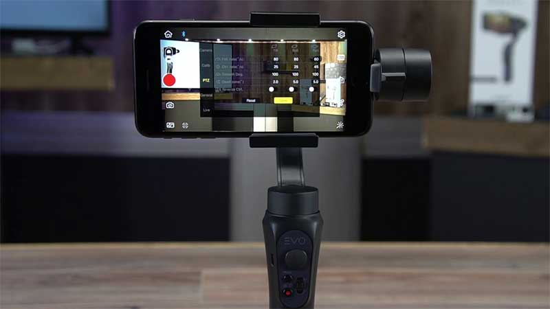 EVO shift gimbal with a smartphone plugged in